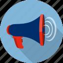 amplifier, broadcast, communication, megaphone, speaker, talk, warning icon