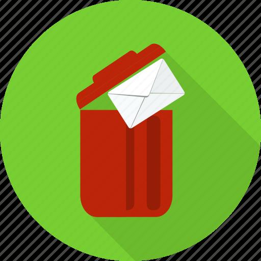delete, envelope, garbage, letter, recycle bin, remove, trash icon