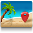 beach, maps icon