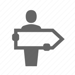 advertising, blurb, direction, man, poster, publicity, signboard icon