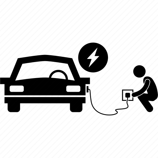 car, charging, electric, electrical, man, technology, vehicle icon