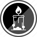 camping, candle, christmas, festive, fire icon