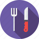 fork, kitchen, knife, restaurant, tool, utensile icon