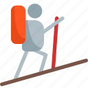 hiker, hiking, on, track icon