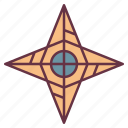 adventure, direction, star icon