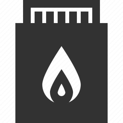 box, fire, match, stick icon