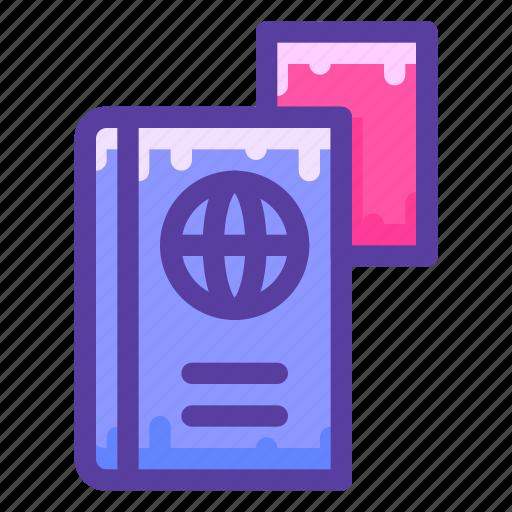 adventure, document, license, passport icon