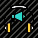 advertisement, megaphone, speaker, marketing, headphone
