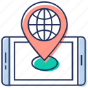 cartography, city map, mobile gps, mobile navigation, online map icon