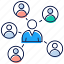 communication network, group communication, group discussion, sharing of information, social communication icon
