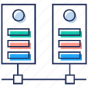computer server, data center, data rack, data server, data sharing, data storage, database server icon
