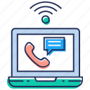 call talking, internet call, online chat, online communication, online conversation icon