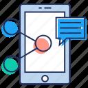 chat sharing, networking, social media, social media sharing, social network icon