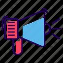 advertisement, bullhorn, loud hailer, loudspeaker, megaphone, promotion, speaker icon