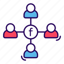social communication, social connection, social group, social media, social network icon