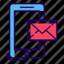 digital communication, inbox, message notification, mobile mail, mobile message, phone message icon