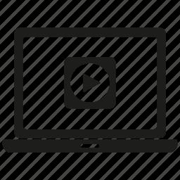 content, laptop, market, media, video icon