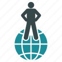 business, globe, man, map, person, travel, web icon