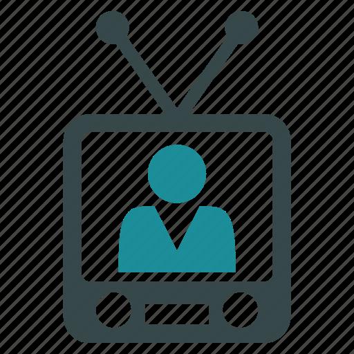 journalist, movie, news, talk show, television, video, watch tv icon