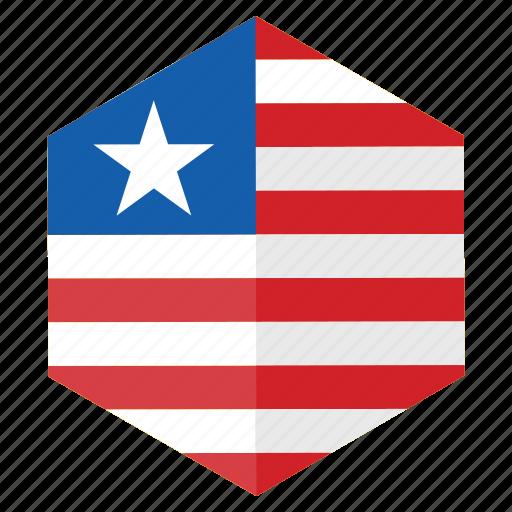 africa, country, design, flag, hexagon, liberia icon