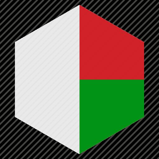 africa, country, design, flag, hexagon, madagascar icon