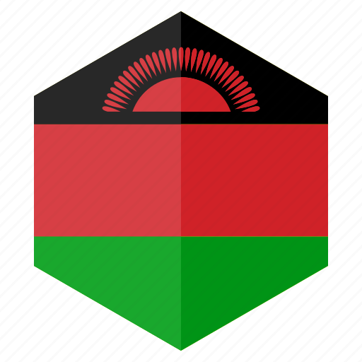 africa, country, design, flag, hexagon, malawi icon