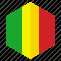 africa, country, design, flag, hexagon, mali icon