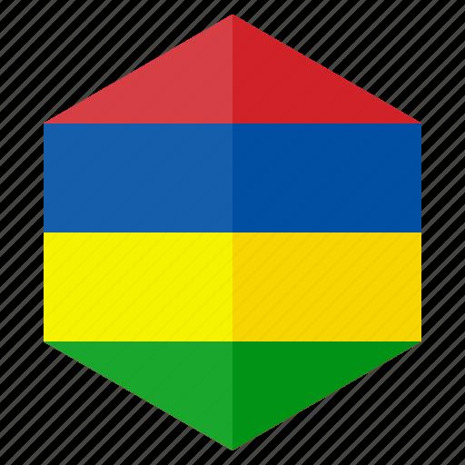 africa, country, design, flag, hexagon, mauritius icon