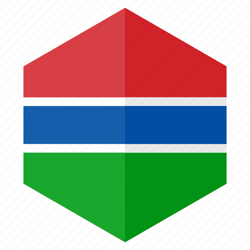 africa, country, design, flag, gambia, hexagon icon