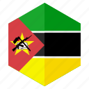 africa, country, design, flag, hexagon, mozambique icon