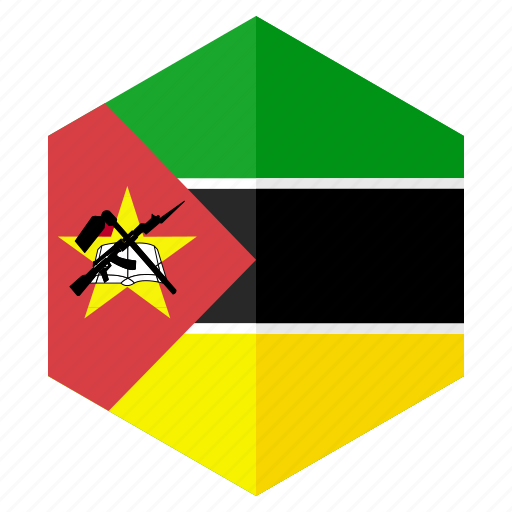 africa, country, design, flag, hexagon, mozambique icon