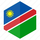 africa, country, design, flag, hexagon, namibia icon