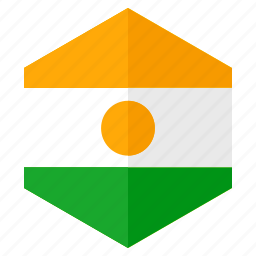africa, country, design, flag, hexagon, niger icon