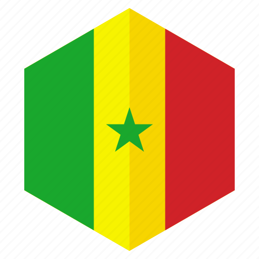 africa, country, design, flag, hexagon, senegal icon
