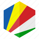 africa, country, design, flag, hexagon, seychelles icon