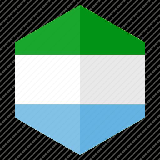 africa, country, design, flag, hexagon, sierraleone icon
