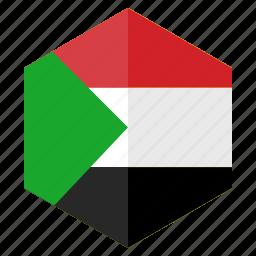 africa, country, design, flag, hexagon, sudan icon