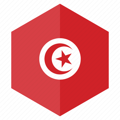 africa, country, design, flag, hexagon, tunisia icon