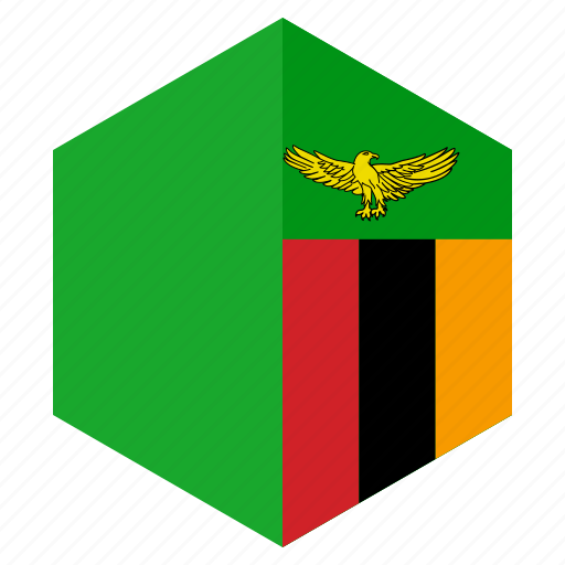 africa, country, design, flag, hexagon, zambia icon