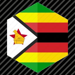 africa, country, design, flag, hexagon, zimbabwe icon