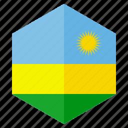 africa, country, design, flag, hexagon, rwanda icon