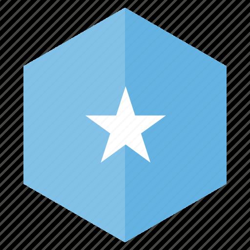 africa, country, design, flag, hexagon, somalia icon