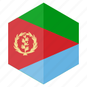 africa, country, design, eritrea, flag, hexagon icon