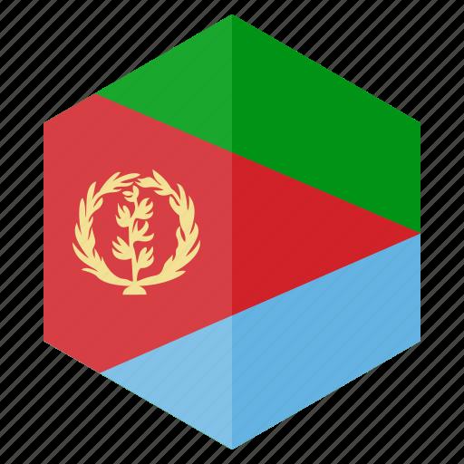 africa, country, design, eritrea, flag, hexagon icon
