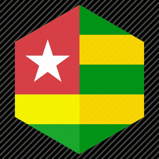 africa, country, design, flag, hexagon, togo icon