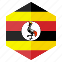 africa, country, design, flag, hexagon, uganda icon