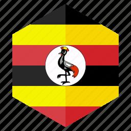 africa, country, design, flag, hexagon, uganda icon