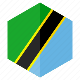africa, country, design, flag, hexagon, tanzania icon