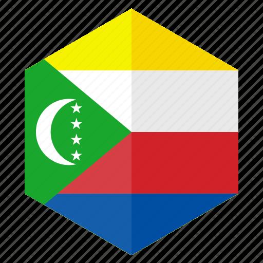 africa, comoros, country, design, flag, hexagon icon