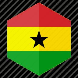 africa, country, design, flag, ghana, hexagon icon
